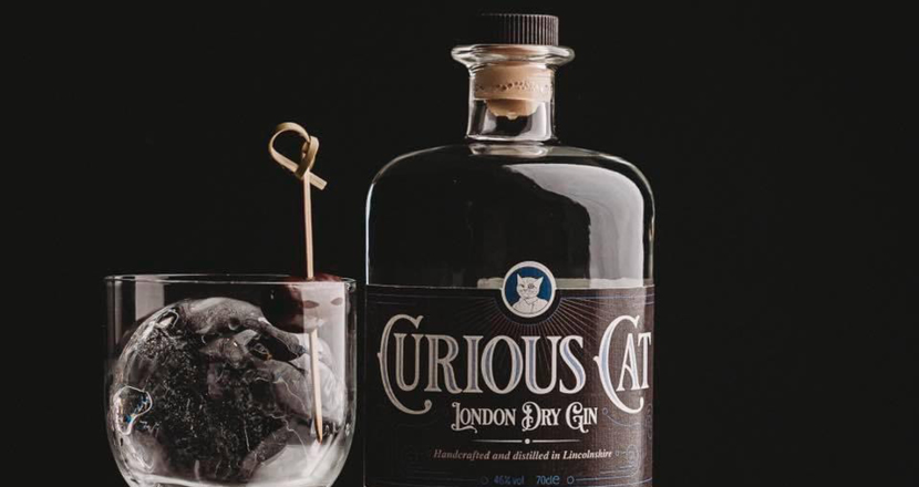 A bottle of Curious Cat London Dry Gin