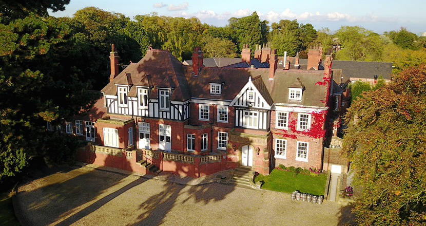 Aerial photograph of Healing Manor