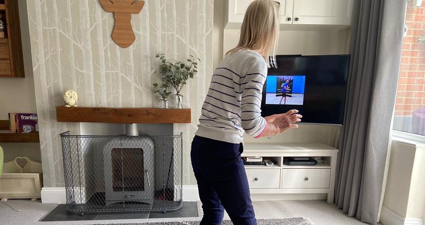 A woman exercising at home