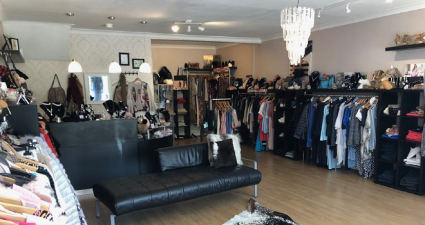 A shot inside The Boutique showing clothing products