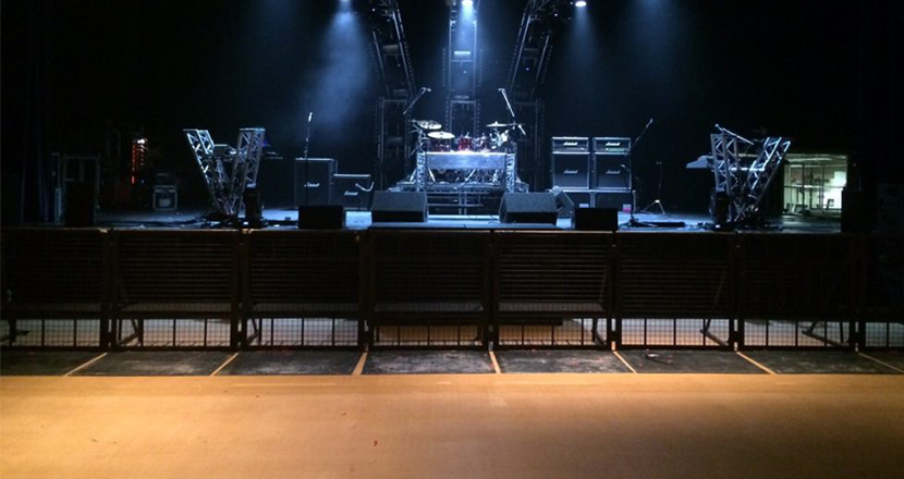 A photograph of the stage at Grimsby Auditorium