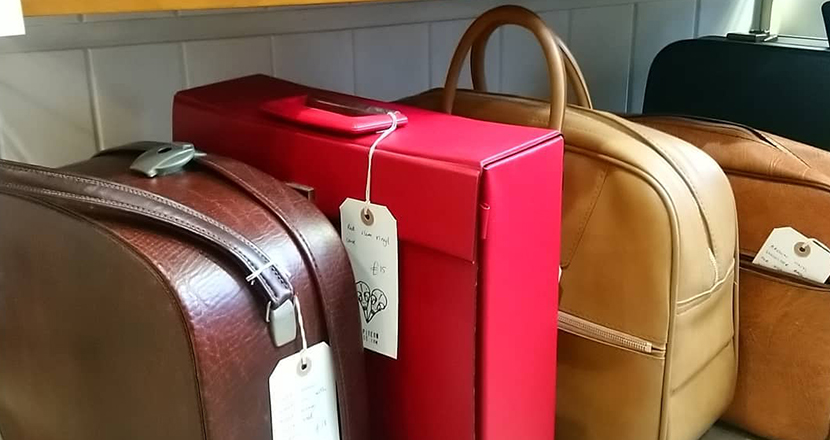 A photograph of vintage suitcases