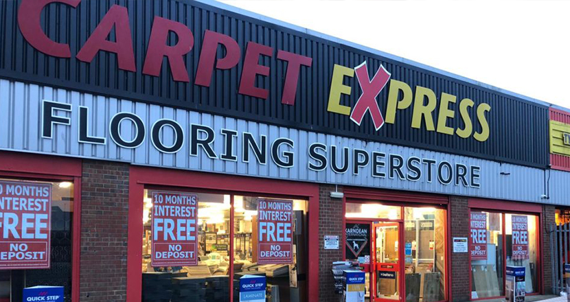 Photography of the store front of Carpet Express