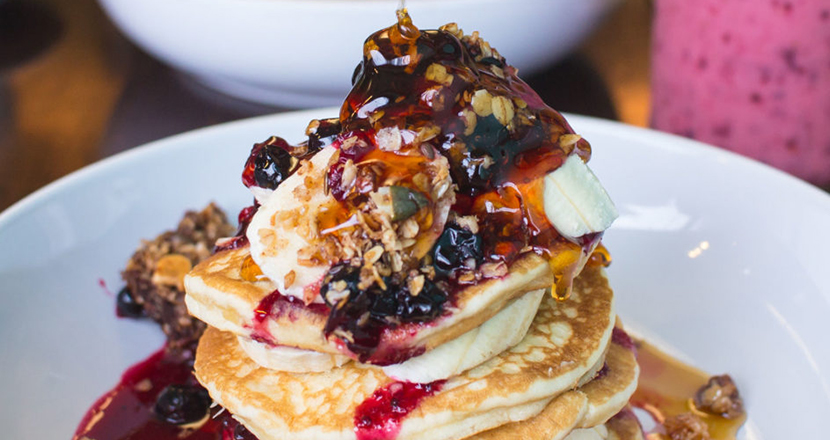 A close up of pancakes from Riverhead Cafe