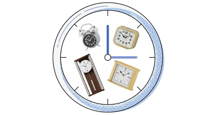 clock graphic with photos of clocks inside of it