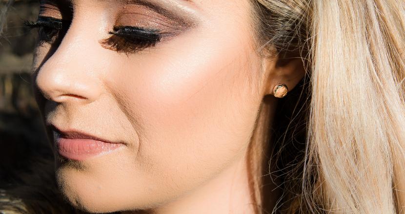 lady wearing silver earrings