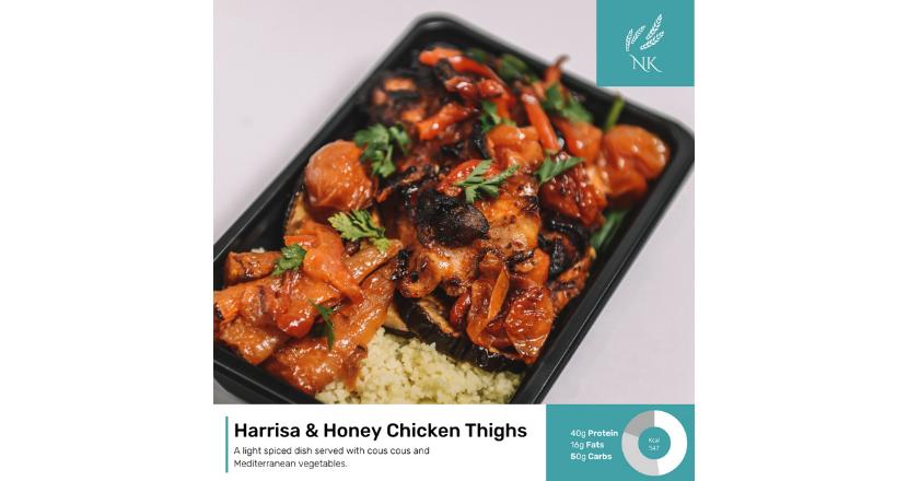 Harissa & Honey chicken thighs dish