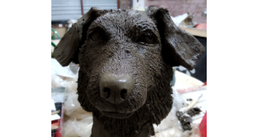 pottery dogs head