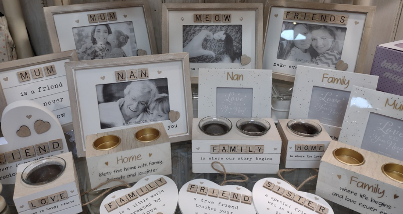 wooden photo frames and candle holders