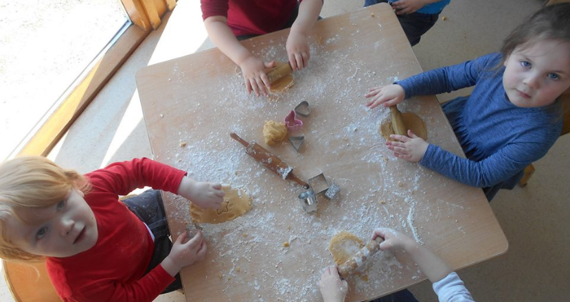 group of children doing crafts