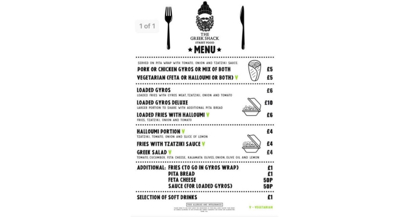 Greek Shack menu