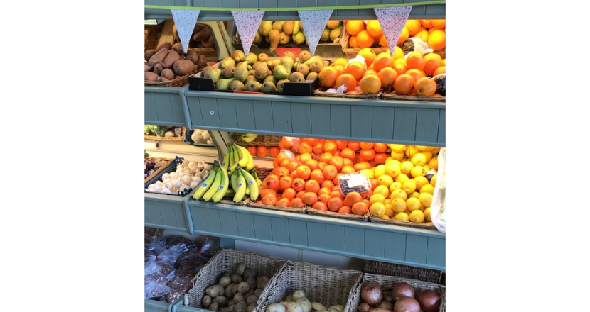 fruit and vegetables on display in store