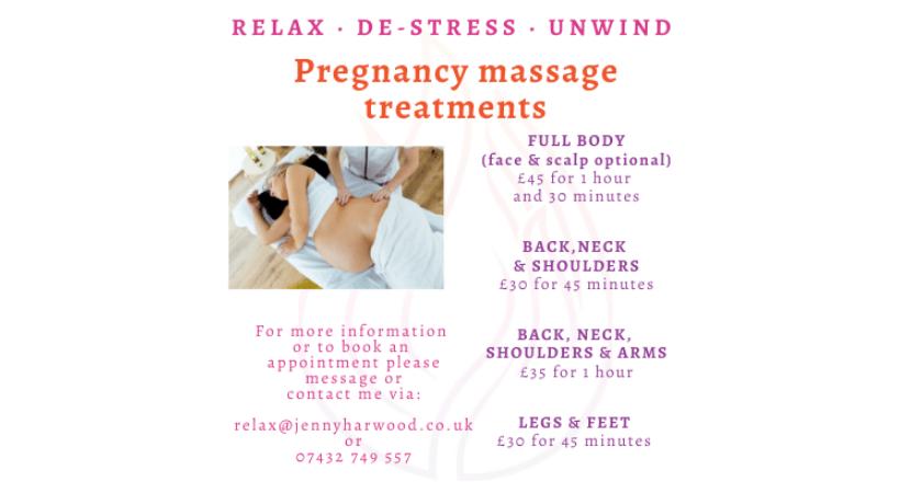 Jenny Harwood Massage Therapist price list